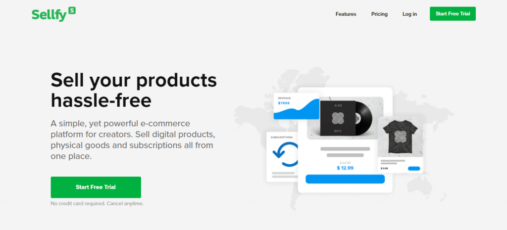 Homepage of Sellfy, an eCommerce platform