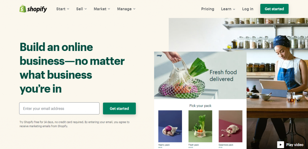 Homepage of Shopify, a well-known eCommerce platform to sell digital downloads