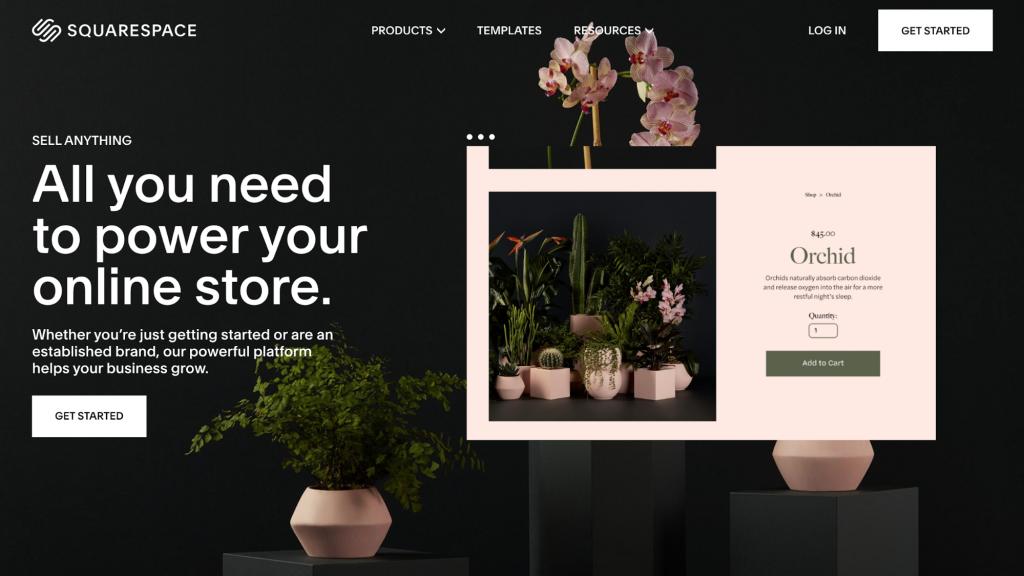 Squarespace's homepage