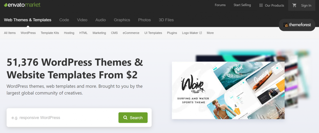 Theme Forest's homepage