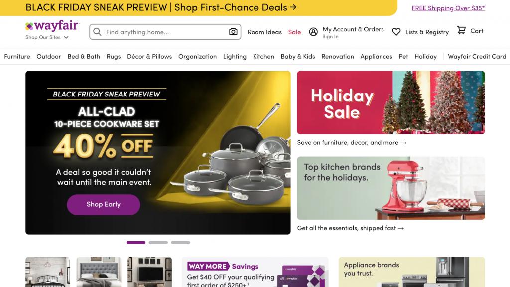 Homepage of Wayfair