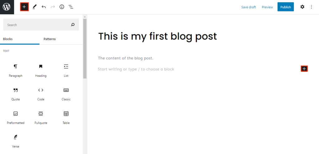 Screenshot of WordPress Gutenberg Editor's new block button