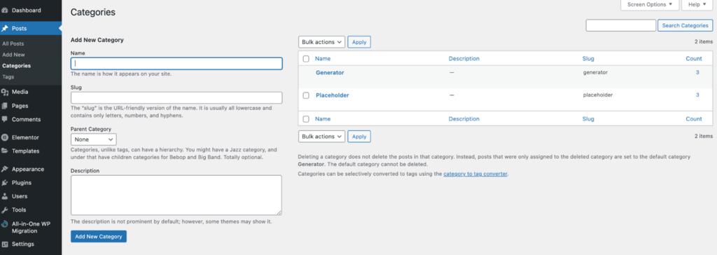 Screenshot of the WordPress add a new category screen