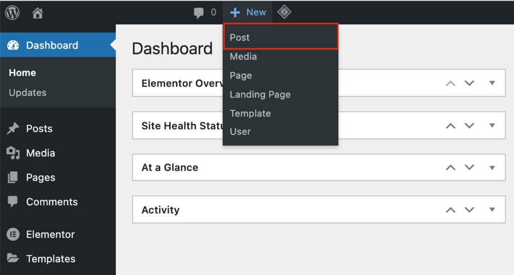 Screenshot of the WordPress New Post button