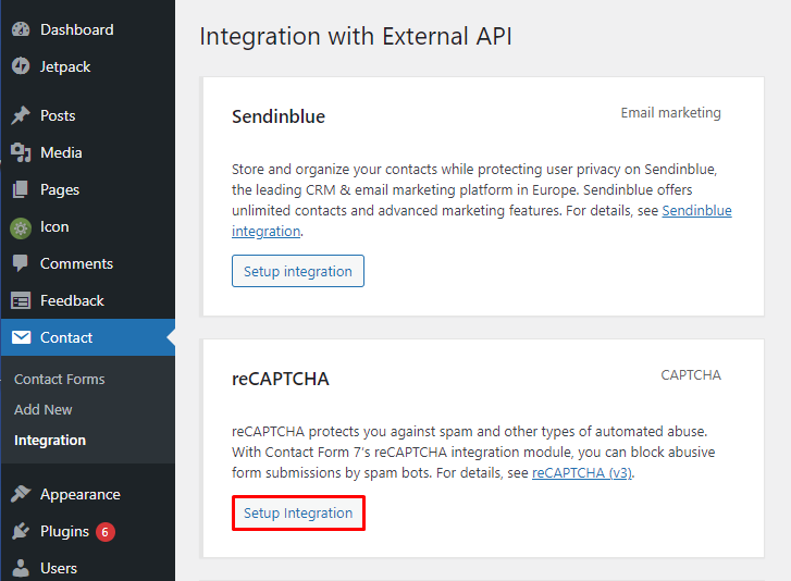 WordPress contact form setup reCAPTCHA integration.