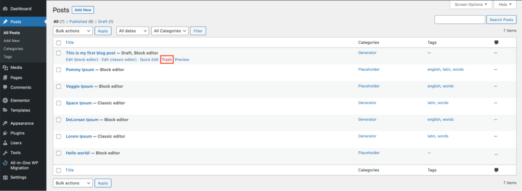 Screenshot of the WordPress Dashboard's trash button