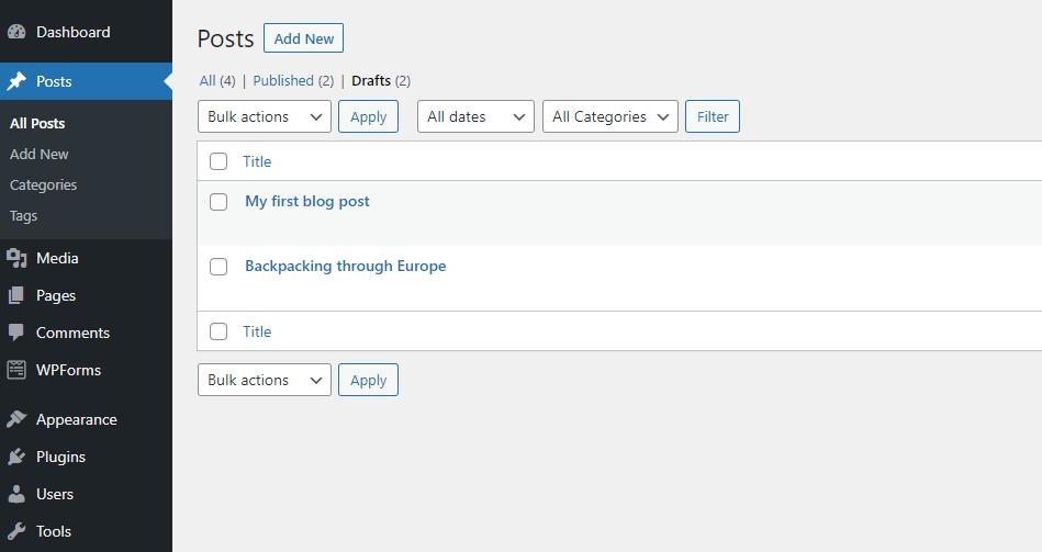 Screenshot of the WordPress draft screen