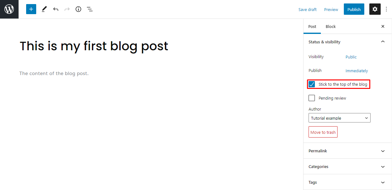 Screenshot showcasing the WordPress Gutenberg editor stick post to the top of the page button
