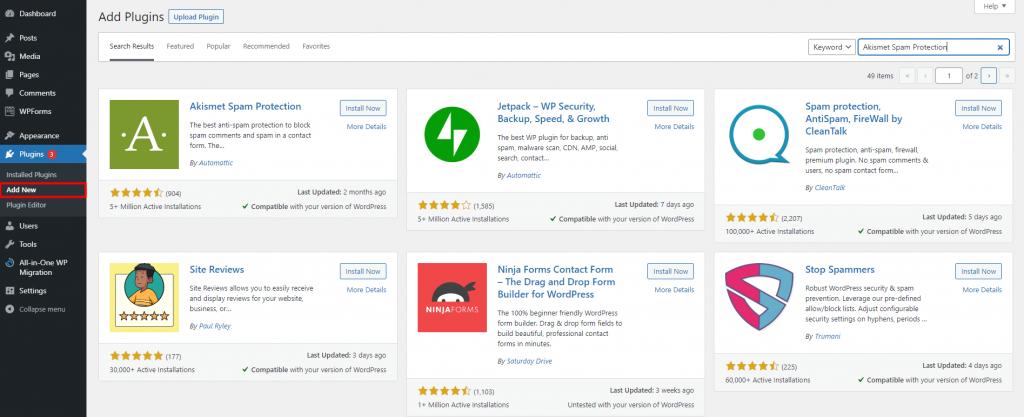 WordPress dashboard highlighting the Add New button