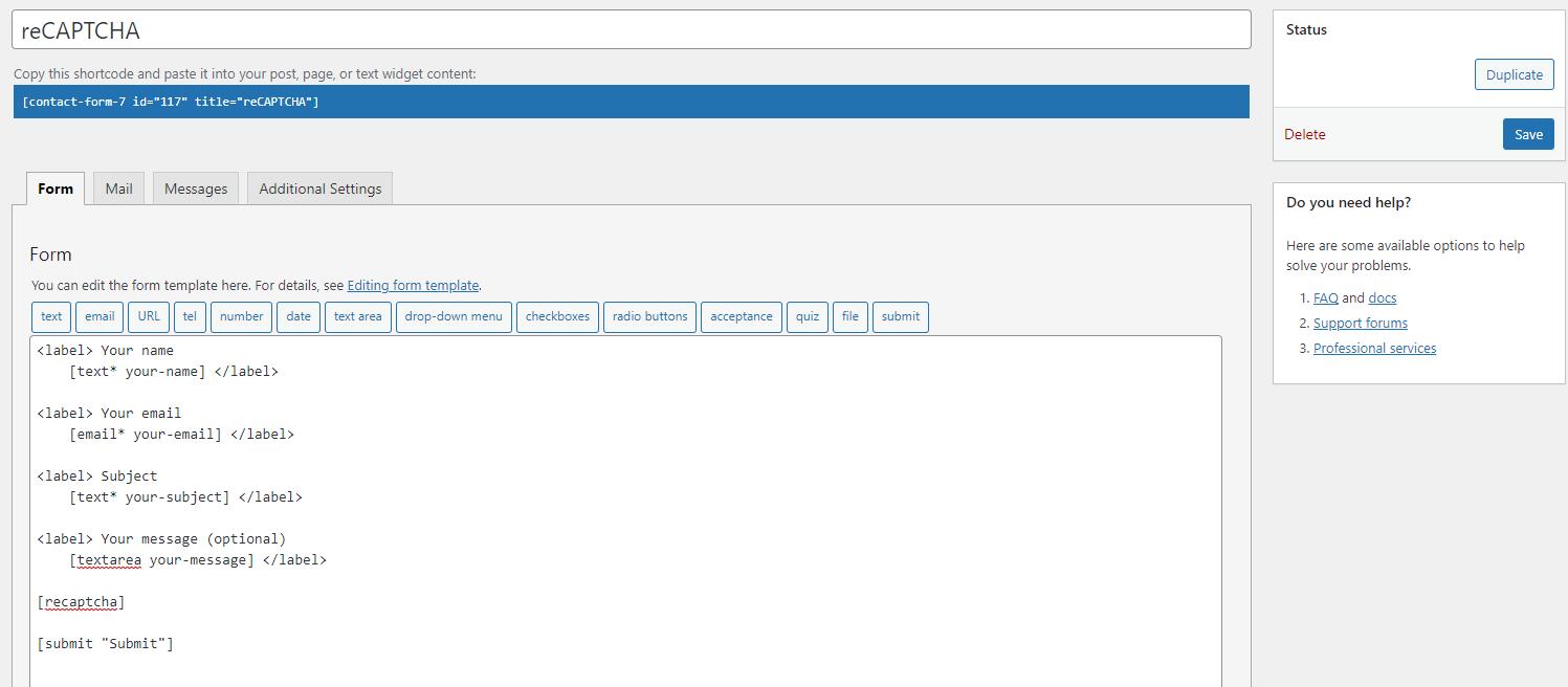 WordPress reCAPTCHA plugin add a new form.