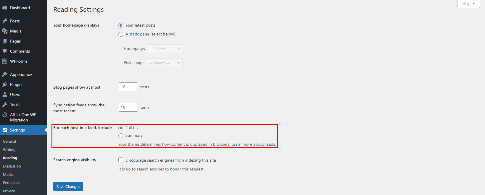 Screenshot showcasing the WordPress settings to change display excerpts