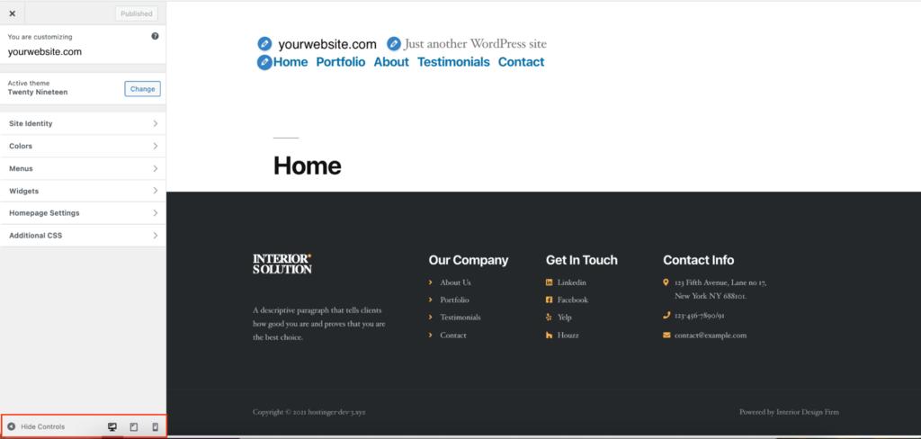 Screenshot showcasing WordPress theme settings to display mobile and tablet previews