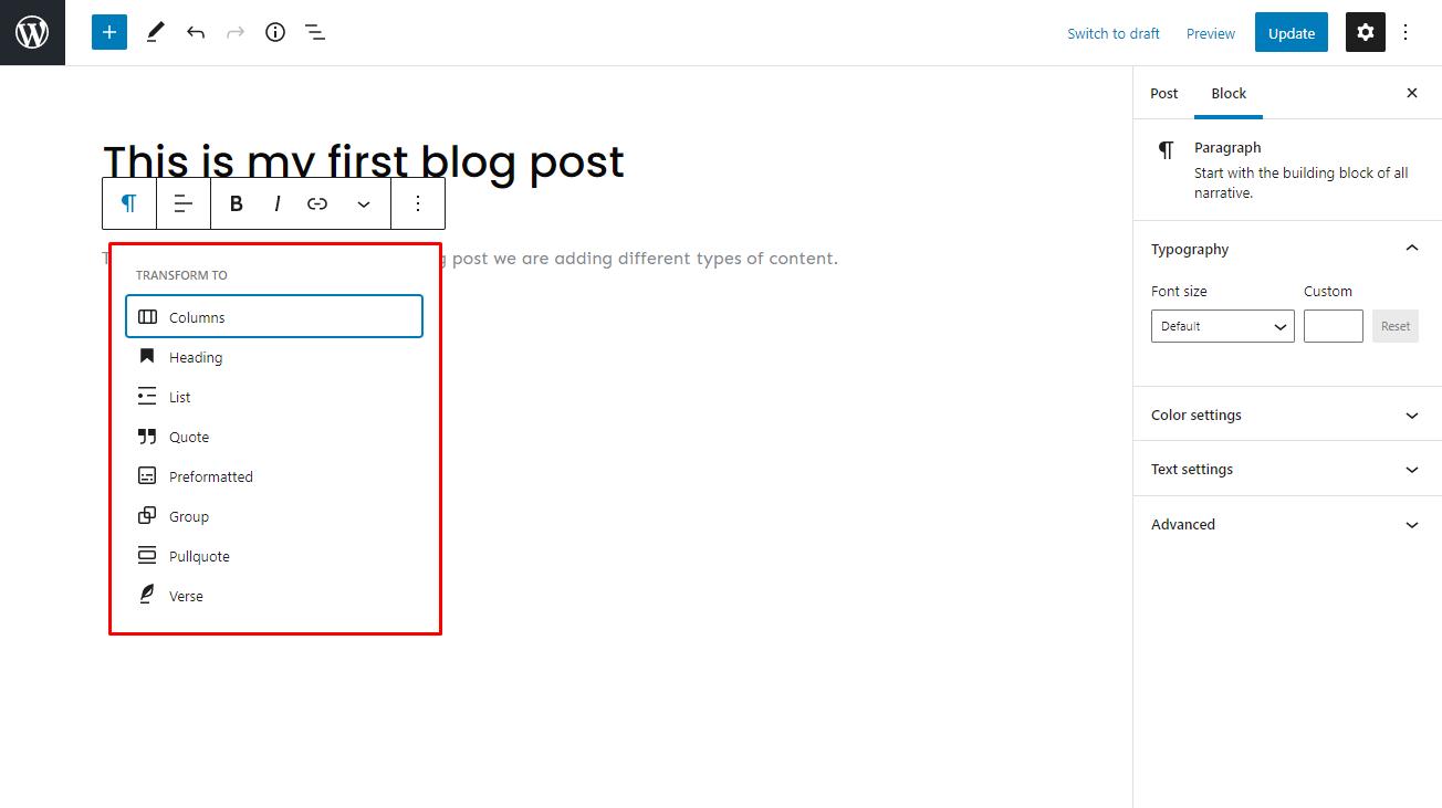 Screenshot of WordPress Gutenberg Editor's transform blocks function