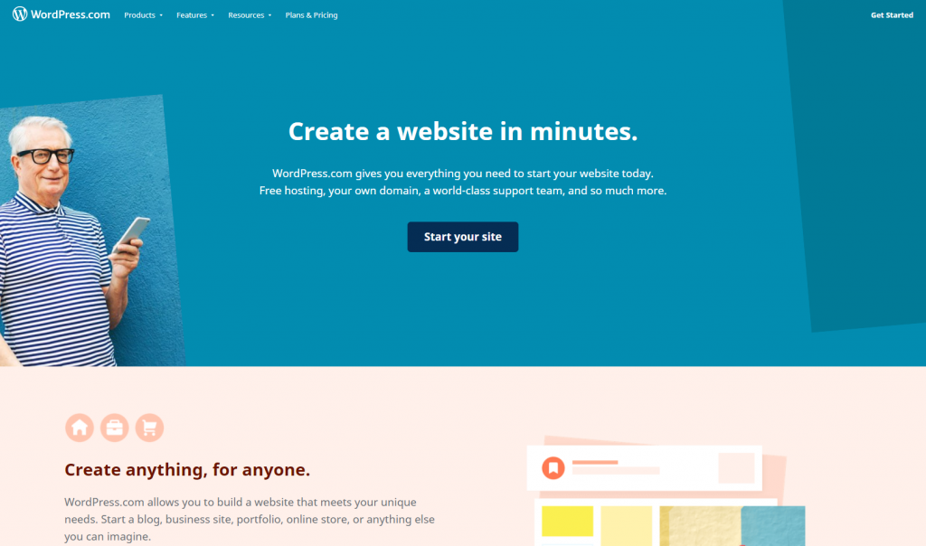 """wordpress.com landing page featuring """"creating a website in minutes"""""""