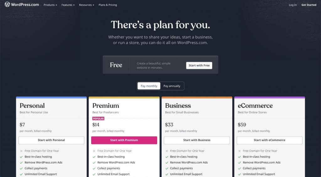 wordpress.com personal, premium, business, and eCommerce plan options