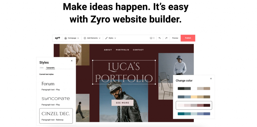Landing page of Zyro website builder