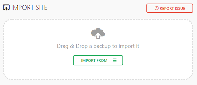 Importing backup files using All-in-One WP Migration plugin.