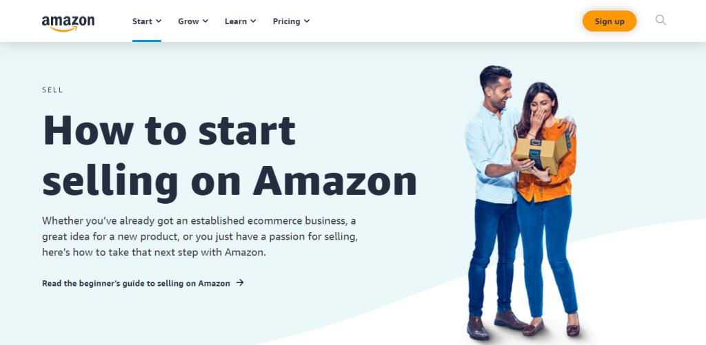 amazon landing page to start selling
