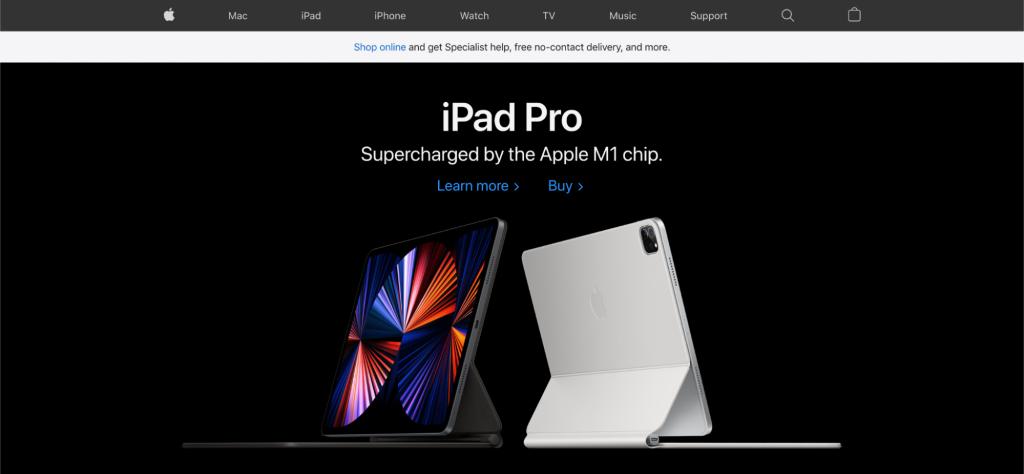 Screenshot of Apple website