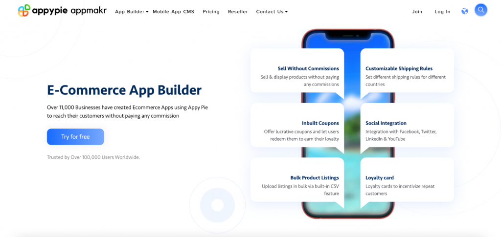 AppyPie website landing page