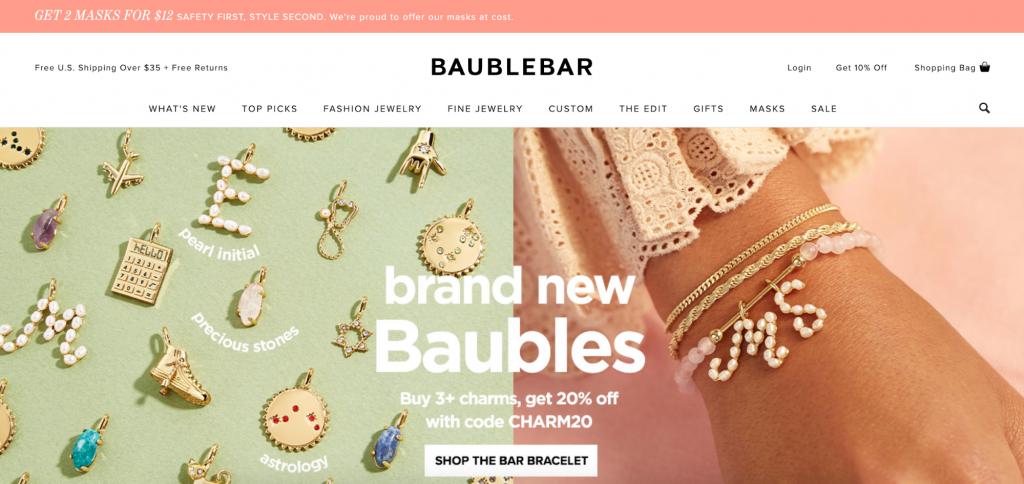 Screenshot of Baublebar's homepage