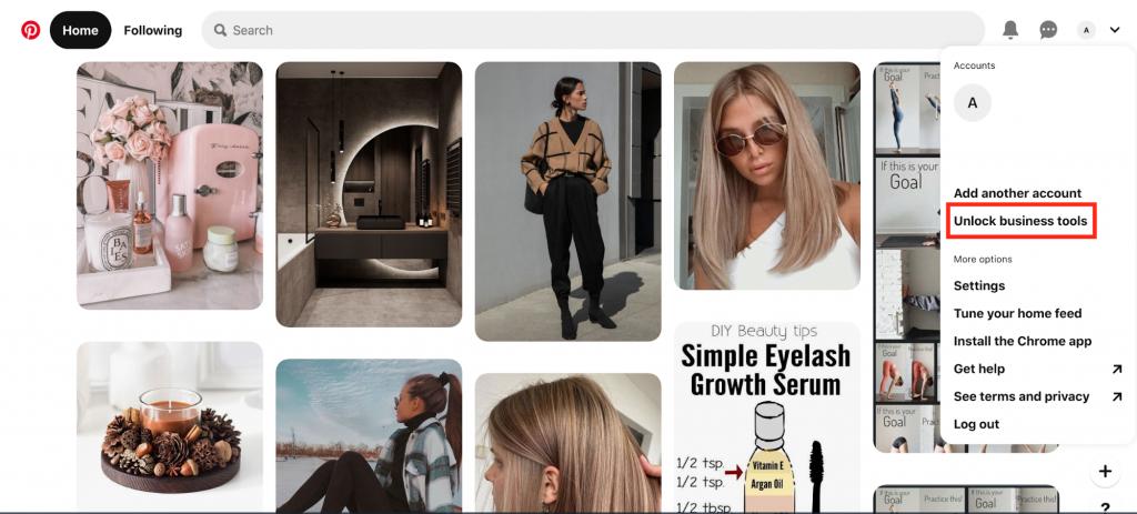 Unlocking Business account on Pinterest