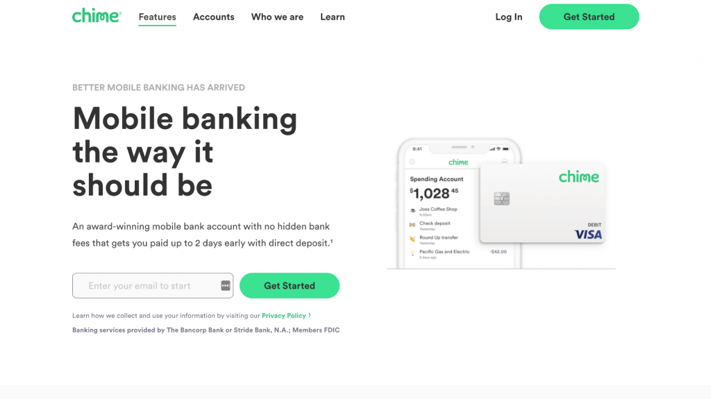 Website homepage of Chime, a digital-only mobile bank