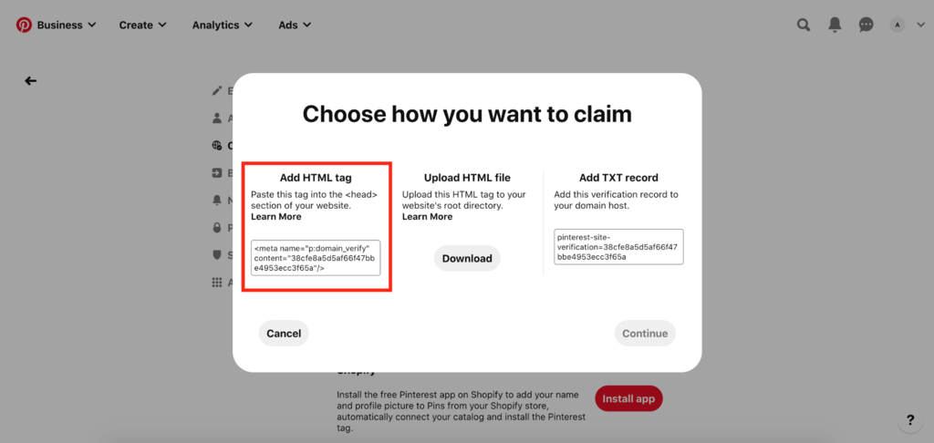 Choosing how to claim website on Pinterest Business