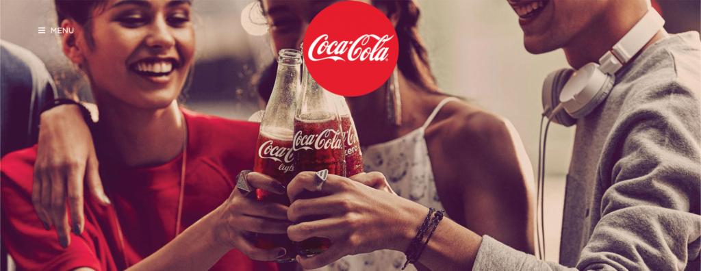 Screenshot of Coca-Cola website
