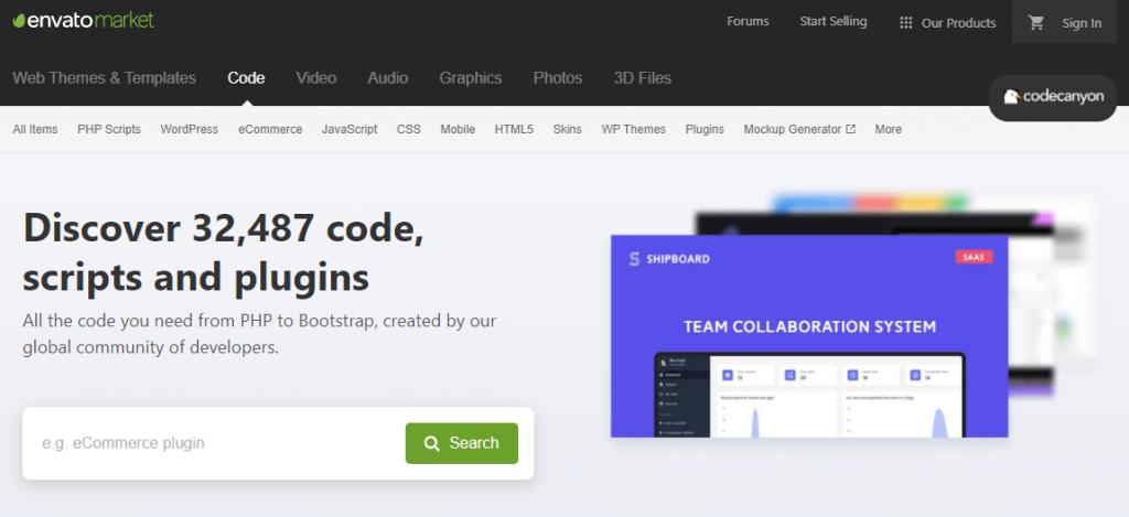 Screenshot of CodeCanyon homepage.