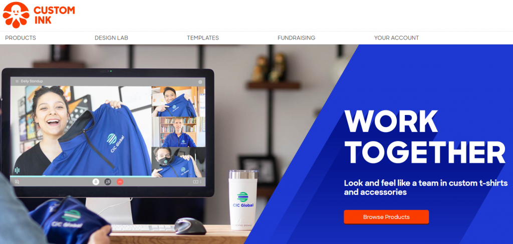 Screenshot of Custom Ink homepage.