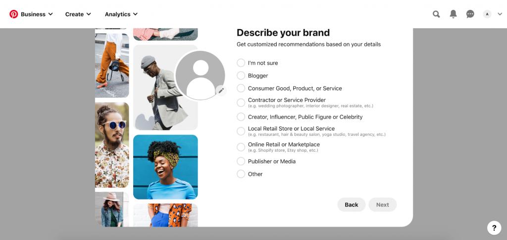 Specifying brand for Pinterest Business