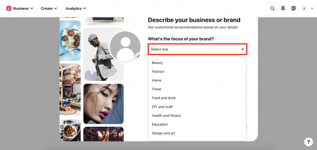 Describing your brand on Pinterest Business