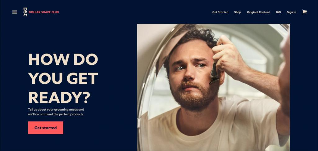 Screenshot of Dollar Shave Club homepage