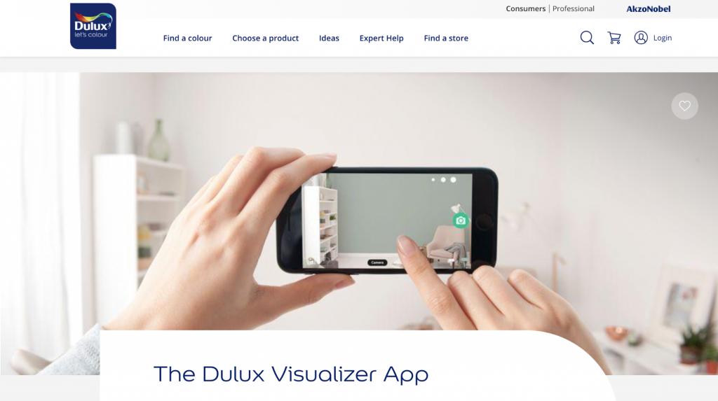Dulux Visualizer website landing page