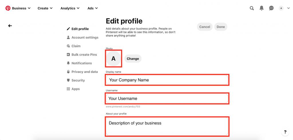 Editing Pinterest Business profile
