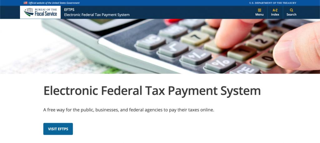 Screenshot of EFTPS website