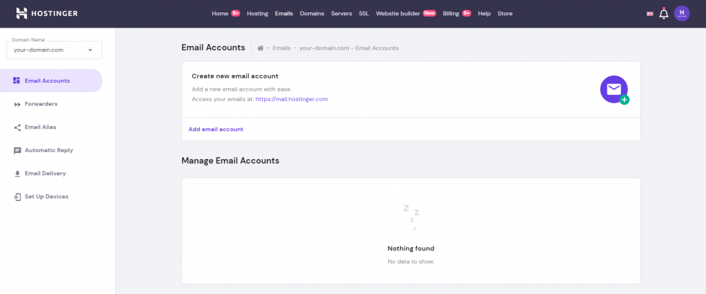 hPanel's Email Accounts section