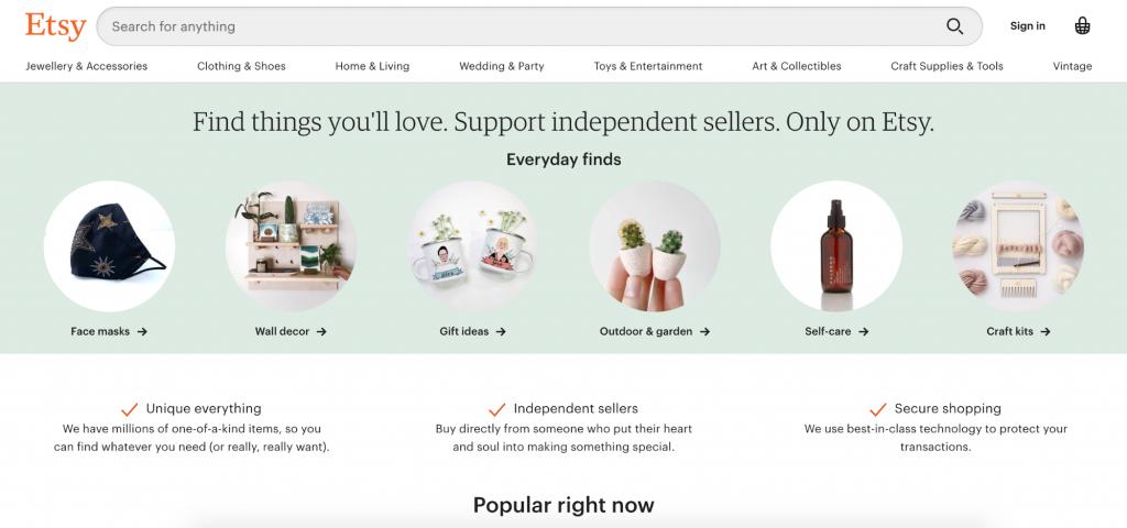 Screenshot of Etsy's landing page