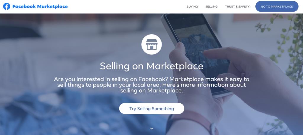 Screenshot of Facebook Marketplace website