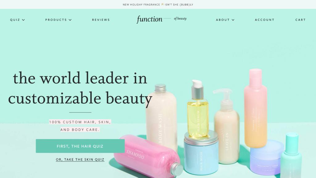 Screenshot of Function of Beauty homepage