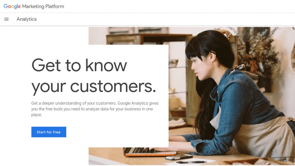 Screenshot of Google Analytics homepage