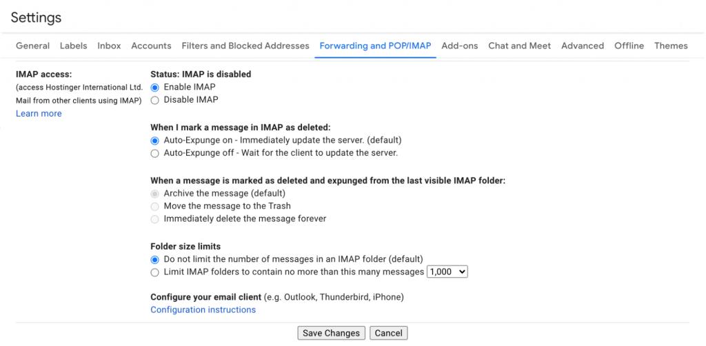 Google IMAP settings page
