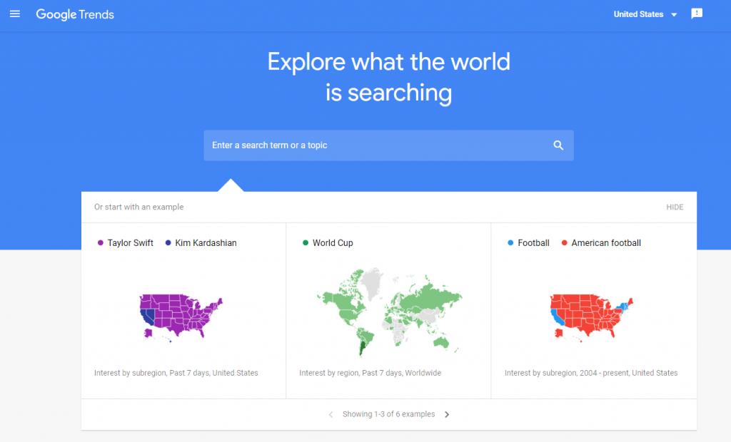 Screenshot of Google Trends website.