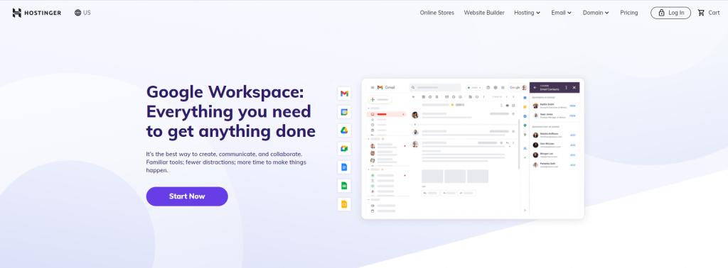 Hostinger's Google Workspace email hosting page