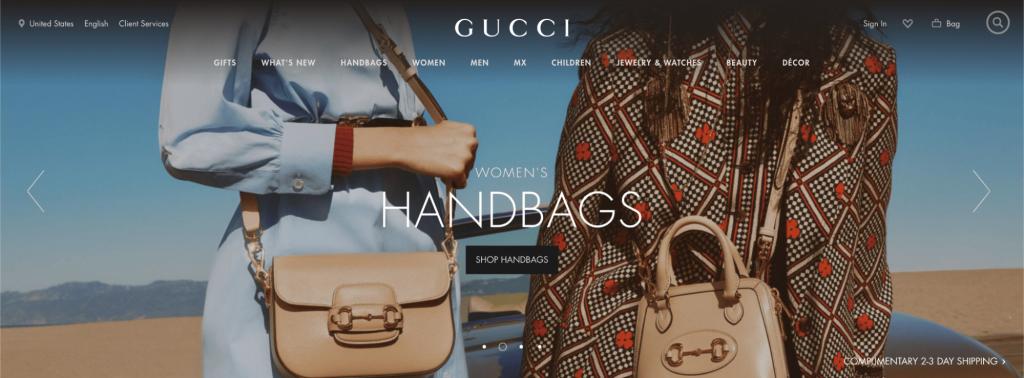 Screenshot of Gucci Online Store