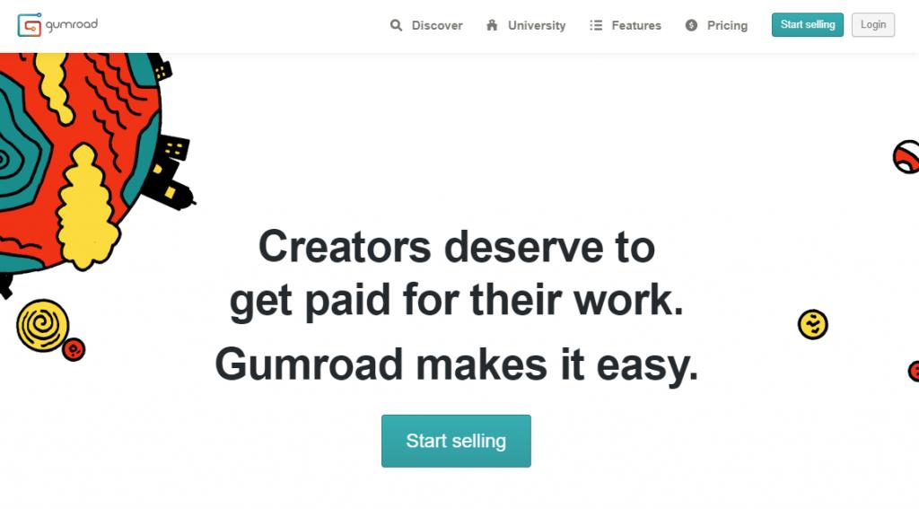 Screenshot of Gumroad homepage.