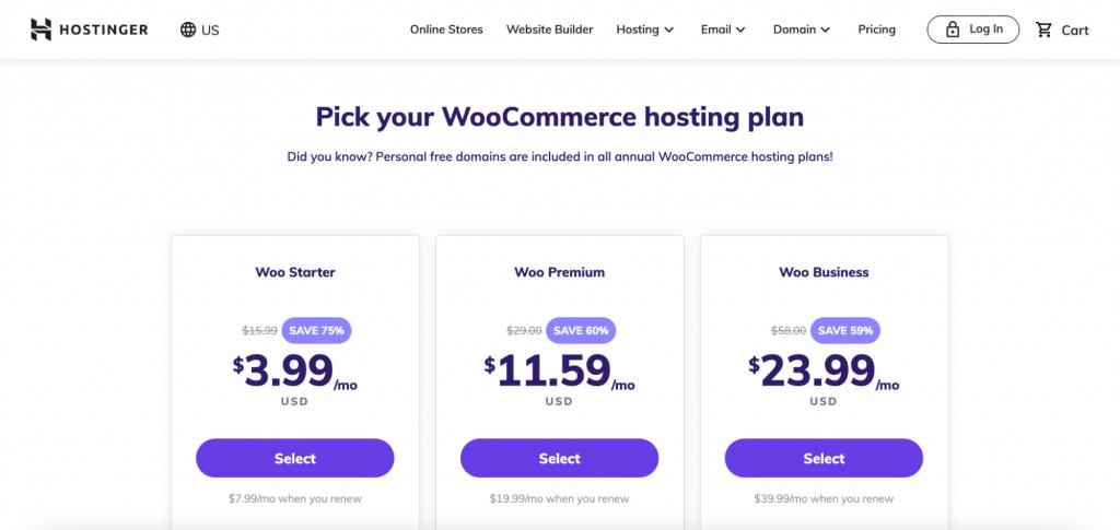 Screenshot of Hostinger's web page of WooCommerce hosting plans