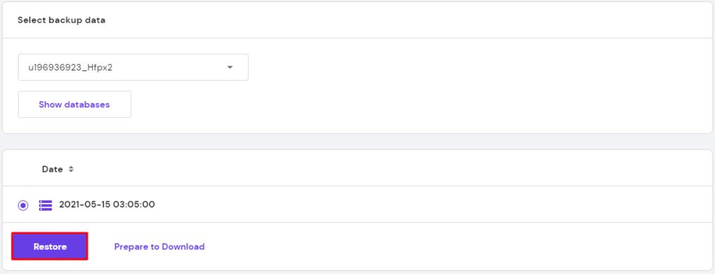 Restoring backup database using hPanel.