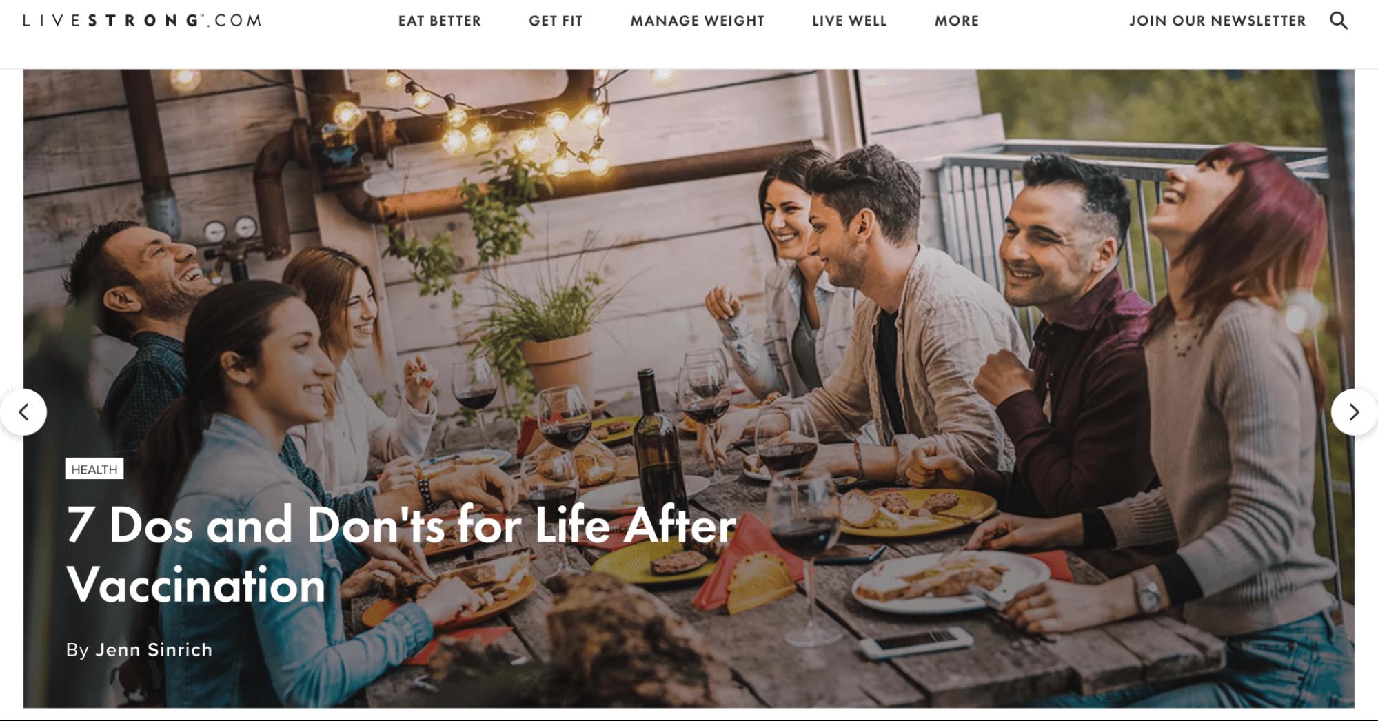 Nutrition website Livestrong